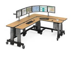 Two Level Desk Dual L Shaped Corner Sit To Stand Desk Afcindustries Com