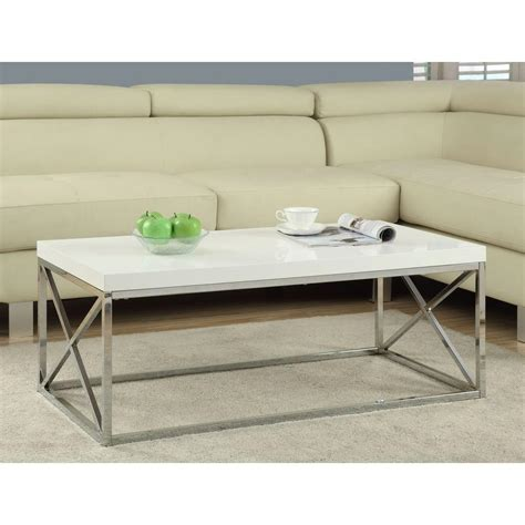 Glossy Coffee Table Monarch Specialties Gloss White And Chrome Coffee Table I 3028 The Home Depot