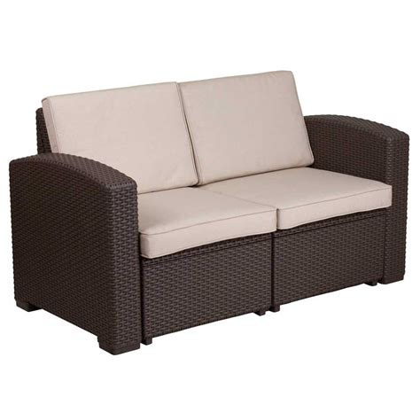 faux rattan outdoor loveseat chocolate brown  outdoor