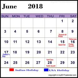 Calendar 2018 With Holidays June 2018 Calendar With Holidays Printable Monthly Calendars