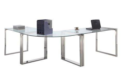 Steel Computer Desk Chintaly Imports 6931 Computer Desk Table Clear Glass Stainless Steel Ci 6931 Dsk At