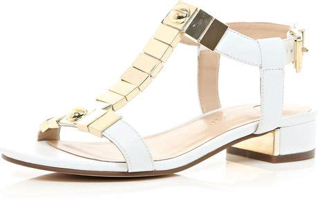 River Islands Bow Trim Sandal by River Island White Metal Trim T Bar Sandals In White Lyst