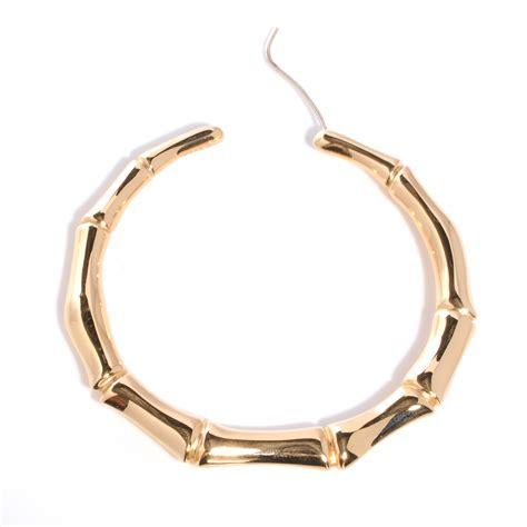 gucci 18k gold bamboo hoop earrings 41546