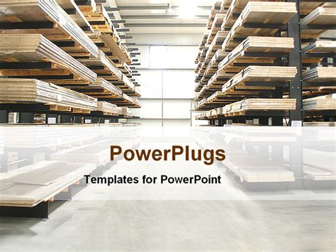 presentation warehouse layout powerpoint template warehouse with wooden stacked shelves