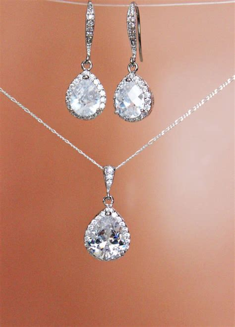 cubic zirconia drop wedding earrings and necklace