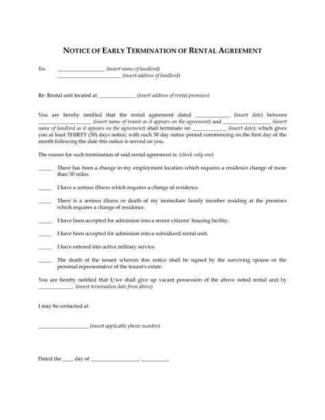 Tenancy Agreement Termination Letter Sle Malaysia termination of agreement template 28 images