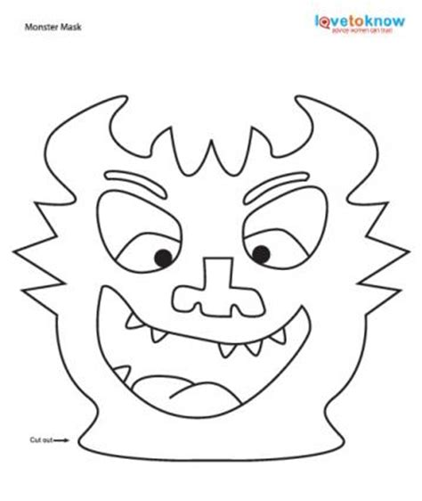 printable monster mask template halloween printable crafts