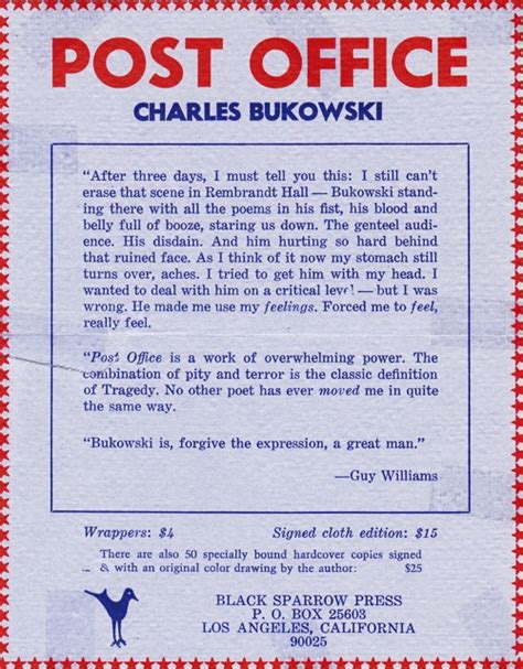 Post Office Charles Bukowski by Post Office Limited Edition Signed With The
