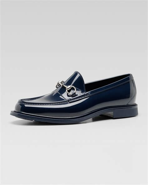 gucci rubber loafers gucci rubber horsebit loafer in blue for navy lyst