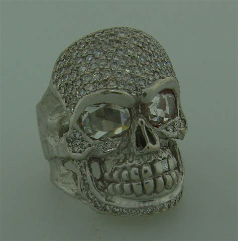loree rodkin white gold skull ring for sale at 1stdibs
