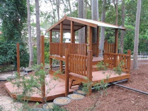 natural timber fortcubby house children play tree