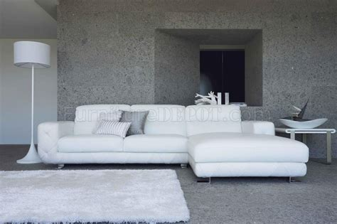 Modern White Leather Couches by White Leather Modern Sectional Sofa W Tufted Sides Steel