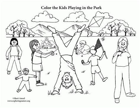 kids playing in the park coloring page coloring home