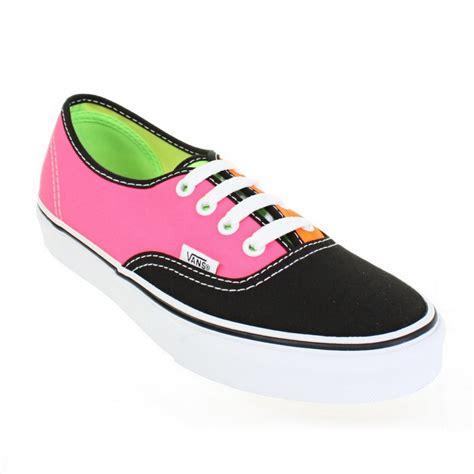 Sepatu Casual Vans Authentic Pink Sz 36 40 womens vans authentic tri tone neon black pink orange casual trainers size 3 8 ebay