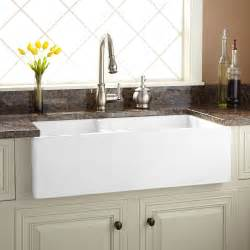 farmhouse fireclay sink 36 quot risinger 60 40 offset bowl fireclay farmhouse sink has