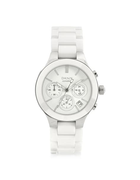 dkny womens ceramic chronograph in silver white lyst