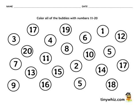 printable bubble numbers 1 20 all worksheets 187 number matching worksheets 1 20