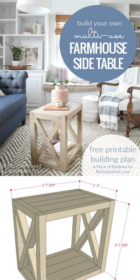 farmhouse end table plans remodelaholic diy planked x farmhouse side table free