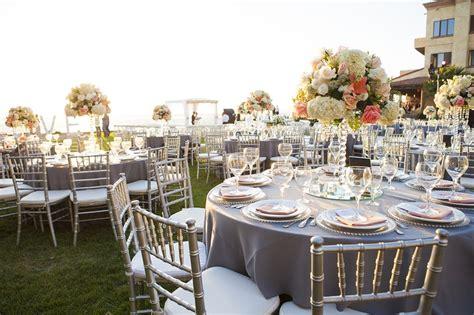 coral and grey wedding centerpieces reception d 233 cor photos outdoor oceanfront grey coral