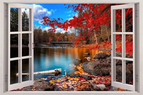 wall scenery murals autumn lakeside 3d window view decal wall sticker decor mural scenery nature ebay