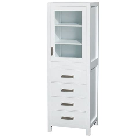White Bathroom Storage Tower Wyndham Collection Sheffield 24 In W X 71 1 4 In H X 20 In D Bathroom Linen Storage Tower