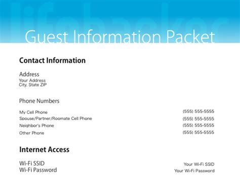 Information Packet Template Our Handy Printable Guest Information Packet