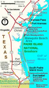 map of san padre island padre island national seashore