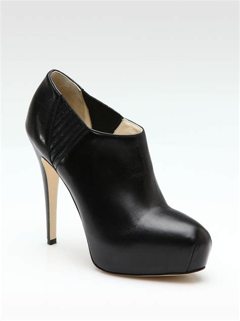 brian atwood leather platform ankle boots in black lyst