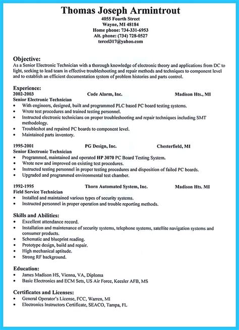Resume Sle Service Technician by Cable Technician Resume Cover Letter