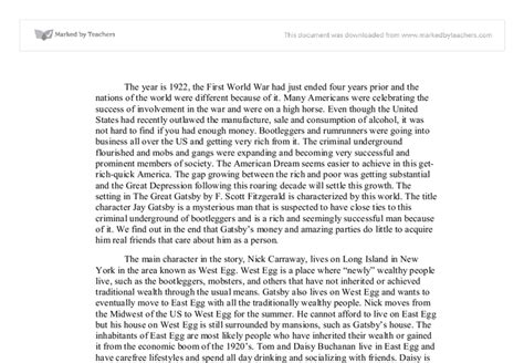 The Great Gatsby Essay by The Great Gatsby Essay Questions