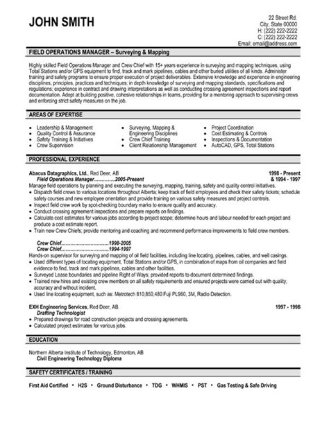 field operations manager resume template premium resume sles exle
