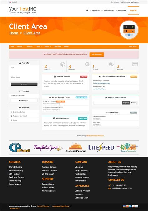 Horizon Html Template A Premium Quality Orange Responsive Html Template With Whmcs Integration Whmcs Client Area Templates Free