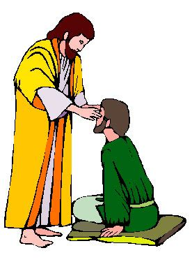 God Heals The Blind Man Two Hearts Design Jesus Clipart