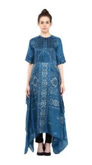 Buy Indian Designer Blue Tropical Print Long Kurti By Ritu