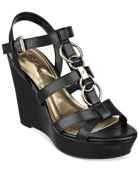 marc fisher genre platform wedge sandals in black lyst
