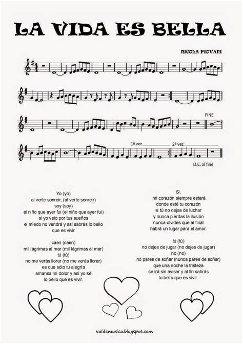 partitura para completar la vida es bella eduplaneta musical canciones que hicieron historia x la vida es bella