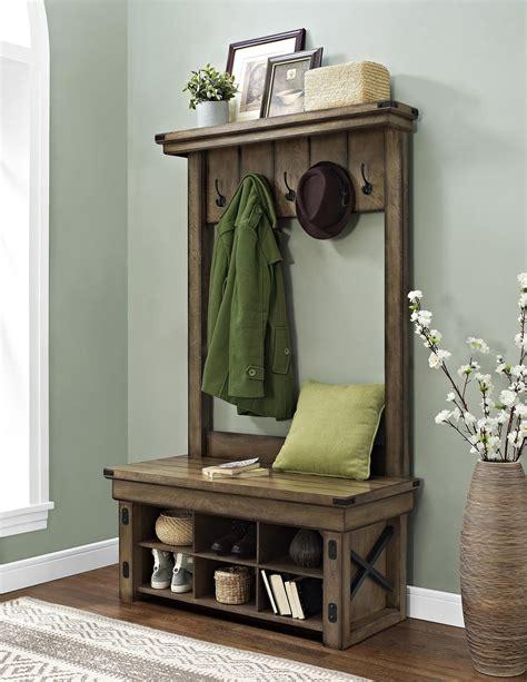 dorel wildwood rustic gray entryway hall tree  storage