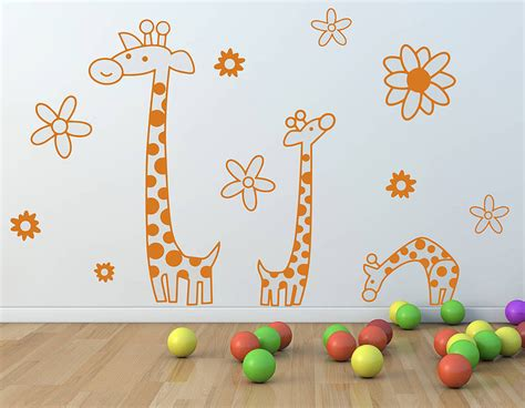 childrens wall stickers children s giraffe wall sticker set contemporary wall
