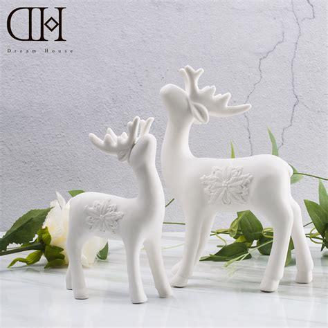 white ceramic reindeer house dh white ceramic reindeer figurine porcelain