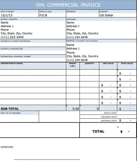 commerical invoice template free dhl commercial invoice template excel pdf word