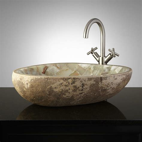 Vessle Sinks by Signature Hardware Green Onyx Mosaic River