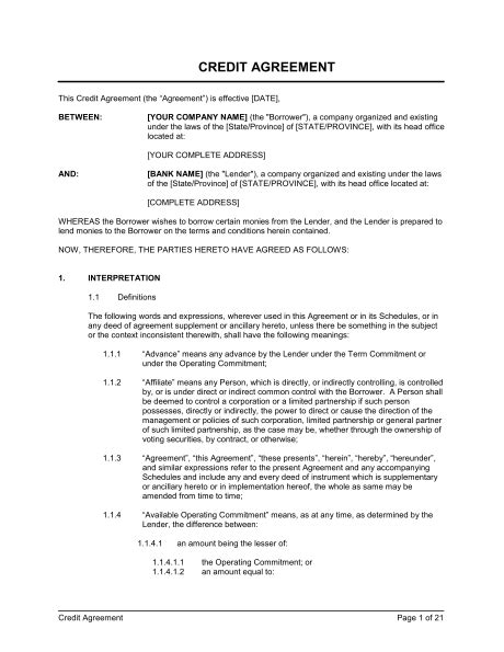 Free Template Credit Agreement Credit Agreement Template Sle Form Biztree