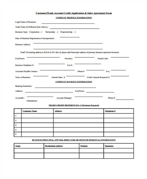 customer credit application form template 15 credit application form templates