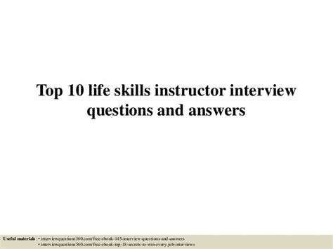 top 10 skills instructor questions and answers