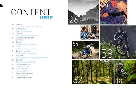 magazine layout contents enduro mountainbike magazine 001 aesthetic design