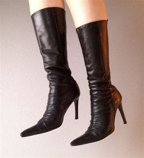 pointy boots rock pointy leather boots black s by