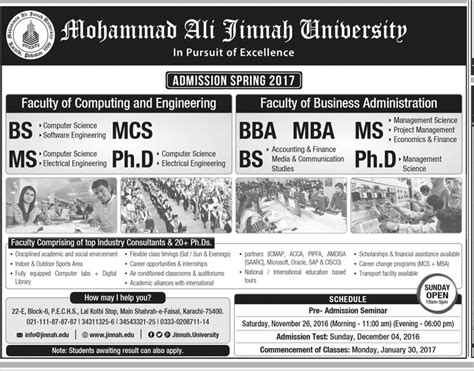 Ms Mba Admission 2017 by Mohammad Ali Jinnah Bs Bba Ms Admission