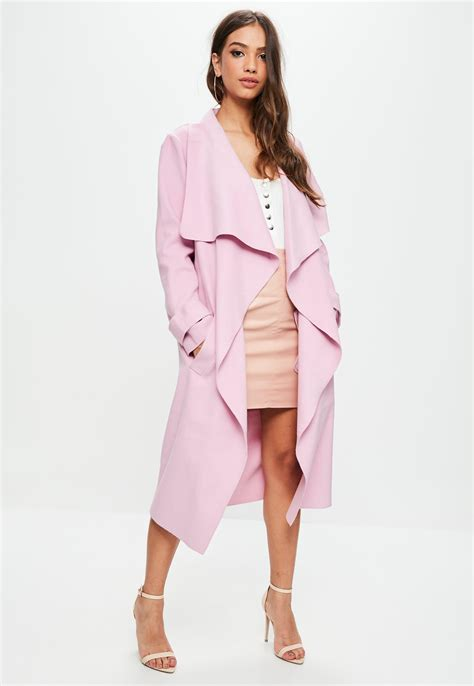 Pink Mr Teddy Big Size Daster lyst missguided pink oversized waterfall duster jacket in pink
