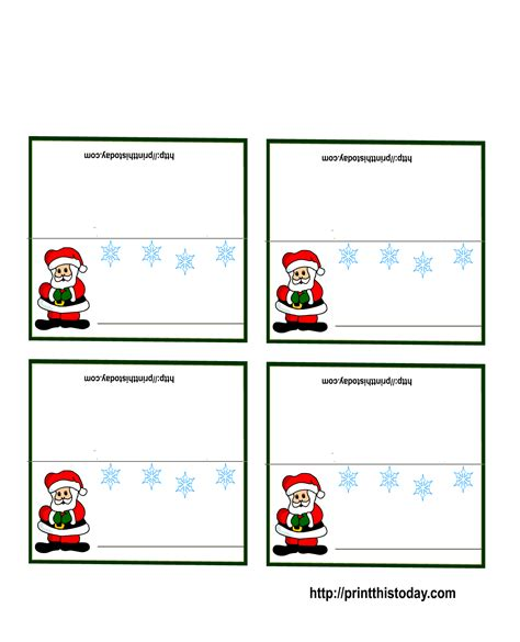 santa place cards templates free printable place cards