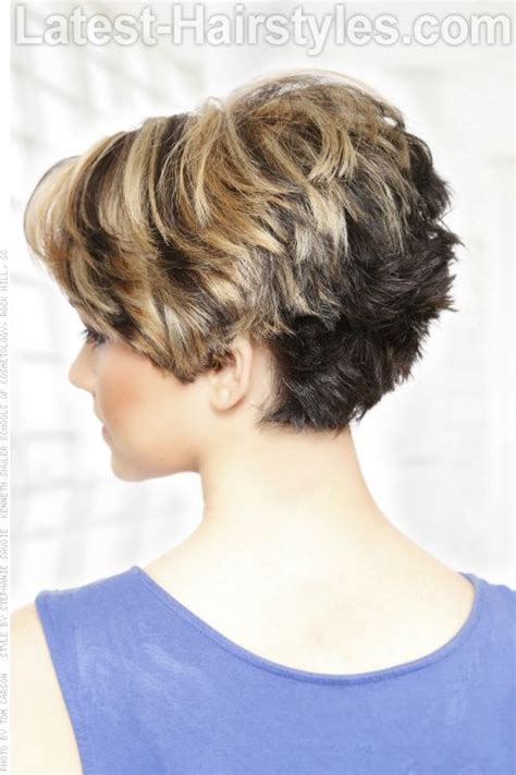 back of head showing a wedge hairstyle short hairstyle with heavy texture back since there is